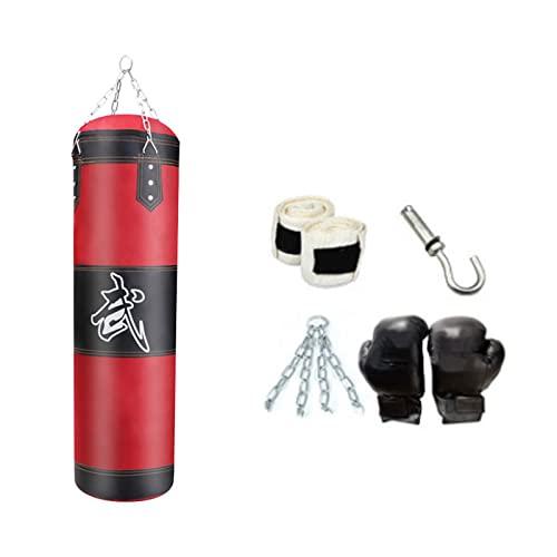YYDS Saco de Arena de Boxeo Sin Relleno, Bolsa de Boxeo Colgante para Niños Adultos Ejercicio Físico-Red-2||80cm