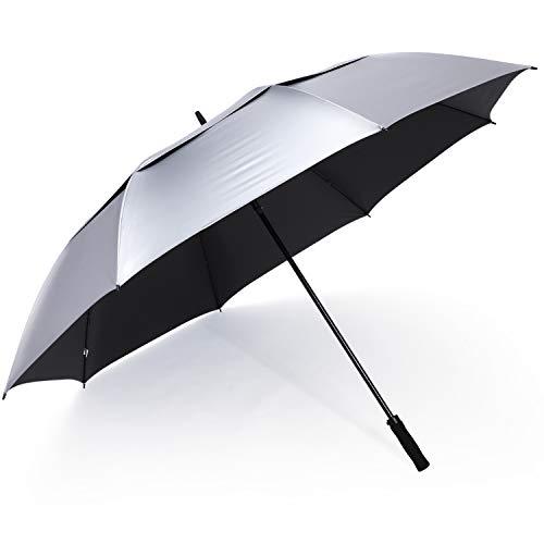 G4Free Paraguas de golf de protección UV de 72 pulgadas, apertura automática, extragrande, resistente al viento, paraguas doble toldo (plata/negro)