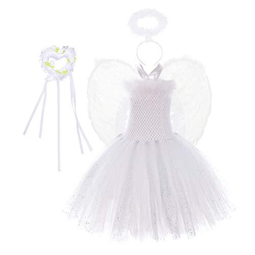 Nvfshreu Vestido tutú para niños con diseño de ángel, Ouftits, 4 piezas, estilo sencillo, vestido de tul con volos, diadema y varilla de hadas, color blanco Blanco 122 cm/128 cm