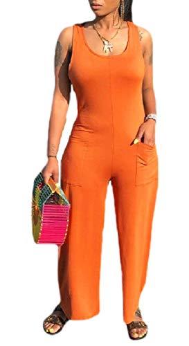 BingSai Women's Sleeveless Tank Party Rompers Clubwear Multi Pockets Bodycon Long Wide Leg Jumpsuits 1 XL
