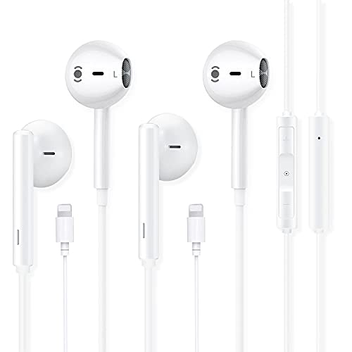 Earbuds Earphone,Wired in-Ear Headphones with Bluetooth,Noise Reduction Function with Built-in Microphone and Volume Control Compatible with iPhone12/ 12 Pro/11/11 Pro/XR/XS Max/X /8 Plus (2 Pack)