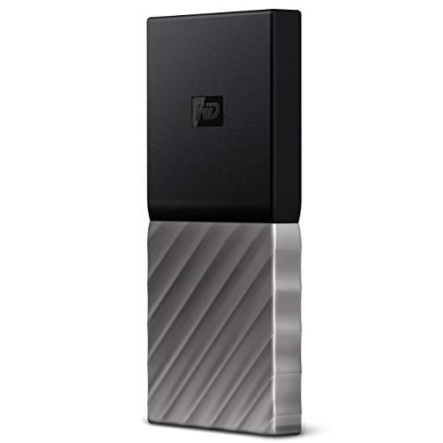 Western Digital WD My Passport SSD externe Festplatte 512 GB (mobiler Speicher, Passwortschutz, 540 MB/s Übertragungsrate, stoßfest, USB-Type C) Schwarz/Metallic - auch kompatibel mit PC, Xbox und PS4