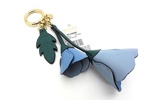 "Michael Kors Flower Leather Key Fob Bag Charm in Pale Blue. Leather Pedals and Goldtone Hardware Beautiful as key fob or bag charm Perfect Mothers Day, Birthday, Spring Summer Bag day Gift Approx 5"" including key ring on fob"