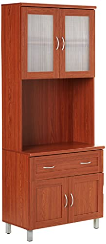 Hodedah Tall Standing Kitchen Cabinet with Top and Bottom Enclosed Cabinet Space, 1-Drawer, Large Open Space for Microwave in Cherry