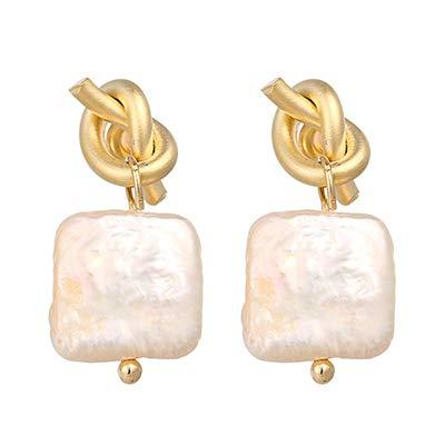 N/N Aretes Mujer Pendientes Colgantes De Perlas Naturales De Agua Dulce Elegantes Pendientes De Nudo De Cobre De Color Dorado
