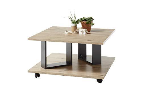 Anthracite laqu/é Structure en m/étal Structure en Forme de Vache Stolkom Table Basse en ch/êne Massif huil/é 1 tiroir