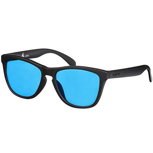 Nebelkind Sonnenbrille Suntastic Schwarz Matt Blaue Gläser Verspiegelt mit UV-Schutz Brillenetui Unisex One Size