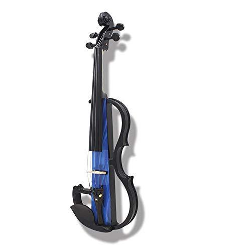DHTOMC Massivholz Student Violine Elektroakustische Violine Professionelles Spiel Elektro-akustische Violine Instrument Starter Violine (Color : Blue, Size : 4/4)