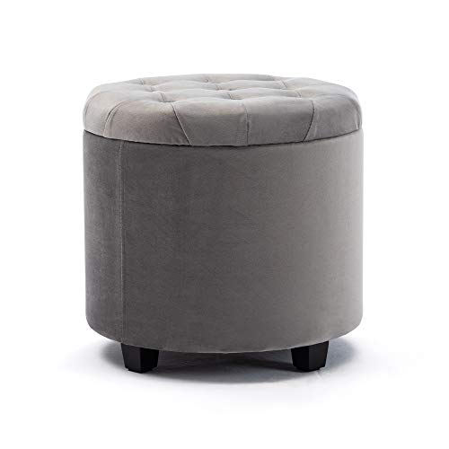 pouf contenitore velluto grigio HNNHOME Capacità 45 L Velluto Pouf Rotondo Poggiapiedi Sgabello Contenitore Cassapanca Ottomane con Coperchio