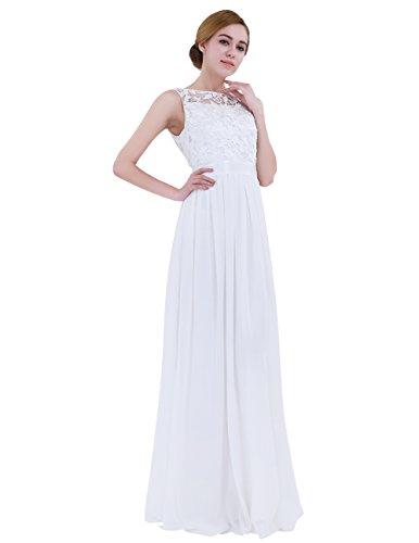 iiniim Mujer Vestido Largo Floreado de Fiesta Boda Vestido Vintage Retro Elegente Dama de Honor de Novia Encaje Traje de Gasa para Mujeres Varias Tallas Blanco 34
