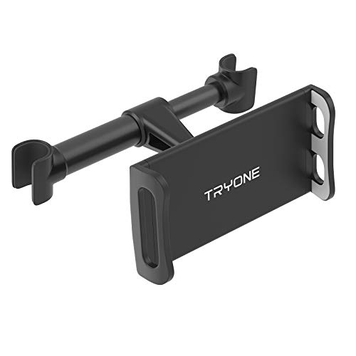 Tryone Car Headrest Tablet Mount Holder Compatible with Smartphones/Tablets/ Switch 4.7'-10.5', Headrest Posts Width 4.1in-5.9in(Black)
