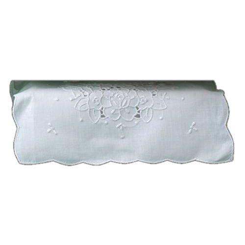 Tissue Box Cover White Linen Rectangular with Cutwork