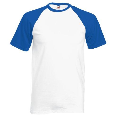 Fruit of the Loom T-Shirt de Baseball à Manches Courtes pour Homme (XL) (Blanc/Bleu Royal)