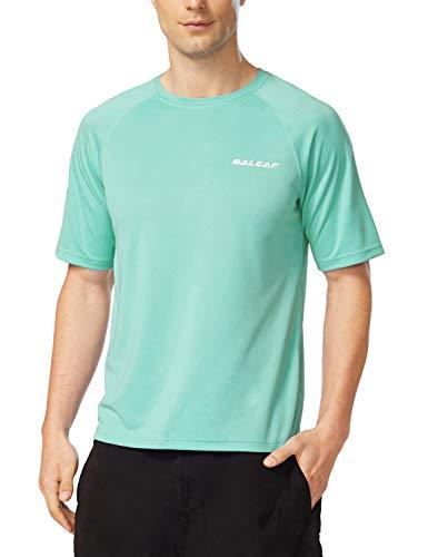 BALEAF Men's Short Sleeve Sun Protection Rashguard Swim Shirt UPF 50+ Light Green L