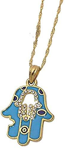 Collar Amuleto de la mano Collar de la suerte Joyería Fátima Mano Colgante de mano Collar Joyas hechas a mano Colgante Tamaño 25 Mm Longitud del collar 50 cm Collar colgante Regalo para mujeres Hombre