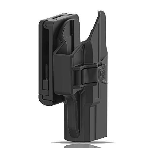 efluky Compatible with Glock 19 Holster Compatible with Glock 19X 23 32 44 45 Hoster, Polymer Tactical Outside Waistband Belt Holsters with Quick Release, Right-Handed, Black