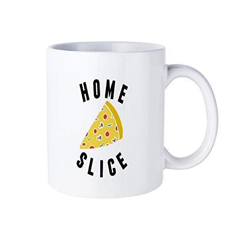 Funny White Coffee Mug, Homeslice Pizza Ceramic Novelty Cup Ideal Gift with Inspirational Sayings Quotes Mug 11oz