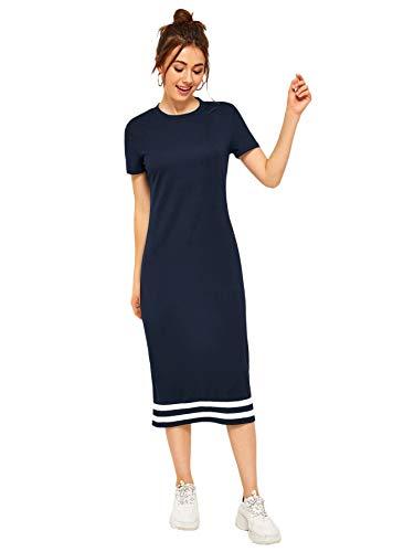 Romwe Women's Casual Striped Short Sleeve Solid Midi T-Shirt Dress Blue S