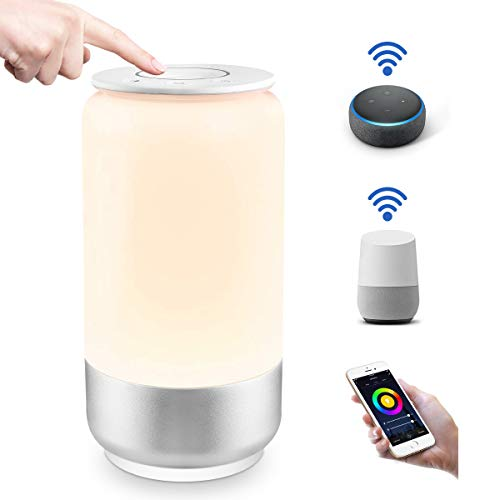 Lepro WiFi Smart Bedside Table Lamp, Alexa and Google Home Compatible, Voice Control LED Night Light, Dimmable White & RGB Colour Changing Touch Lamp for Kids, Bedroom and More (2.4GHz Only)