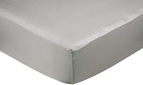 Amazon Basics Fitted Sheet, Baumwolle, Grau, 140 x 200 x 30 cm