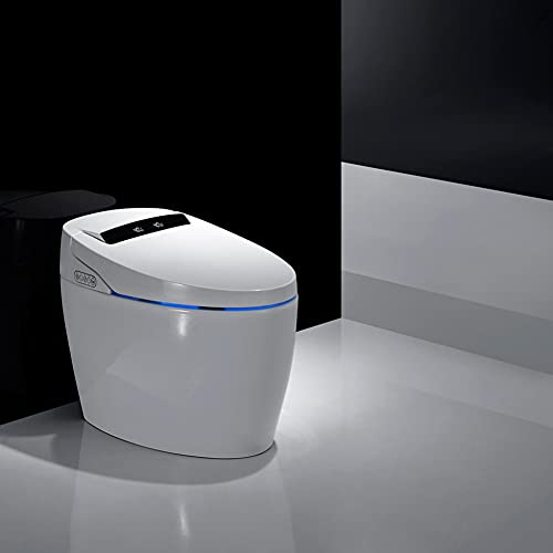 Smart Bidet Seat Toilet with Integrated Dual Flush with Remote Control, Elongated One Piece Smart...