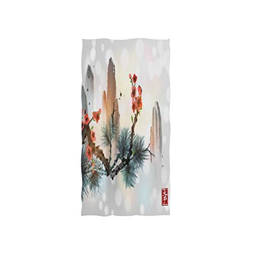 MNSRUU Handtuch, chinesische Bergkiefer, Baum, Kirschblüte, weiches Badetuch, Hotel- und Spa-Handtuch, 76 x 38 cm