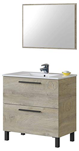 Miroytengo Mueble baño Athena 2 cajones y Espejo Color Roble Alaska Moderno Industrial 80x45 cm SIN LAVAMANOS