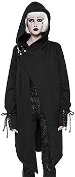 Punk Rave Gothic Fashion Black Cotton Cardigan Witches Sweater Women Coat Jacket Cloak Visual Kei Hooded Windbreaker  XL~2XL