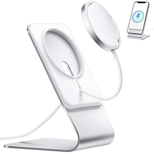 Amazon Brand - Eono Supporto Cellulare per Caricabatterie MagSafe, Supporto Telefono in Alluminio per MagSafe, Compatibile con iPhone 12/12 Pro/12 Pro Max/12 Mini (Caricabatterie Non Incluso)