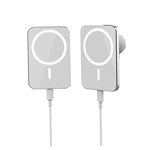 YepYes Inalámbrico Cargador del Montaje del Coche del teléfono del sostenedor de Carga X16 Hilos Blanco magnético Compatible con iPhone 12 Mini Pro