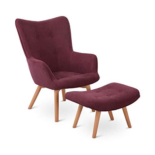 Besoa Hagersten Class 20 Sessel mit Fußbank, strapazierfähiger Bezugsstoff, Beine aus massivem Holz, klassisches Design, aubergine