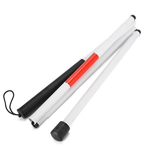 Bastón ciego plegable, bastón portátil ciego plegable bastón reflectante rojo blanco bastón de aleación de aluminio ciego bastón guía para personas ciegas y con discapacidad visual