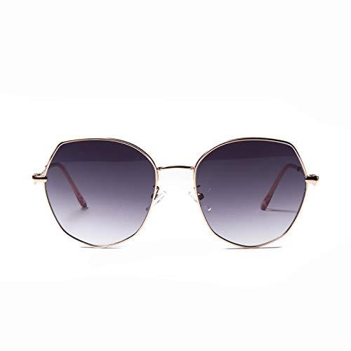 JINZUN Gafas de Sol Lentes de Color poligonales Gafas de Sol Retro de Metal Tendencia de Moda Anti-UV Progresivo Gris