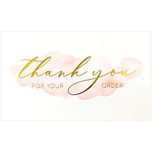 Gooji 100 Pack 2 x 3.5 (the size of a business card) Gold Foil Pink Watercolor Thank You for Your Order Cards for Small Business orders