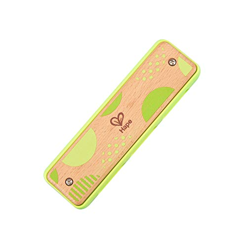 Hape Blues Harmonica | 10 Hole Wooden Musical Instrument Toy for Kids, Green