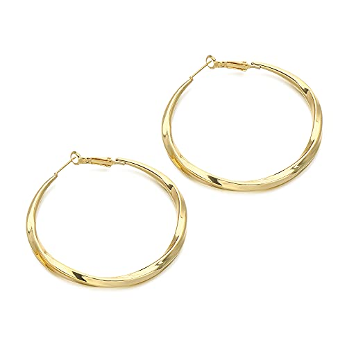 Pendientes de aro de metal de moda para mujer geométrica, pendientes de aro redondos de lazo de aro de círculo liso (A)
