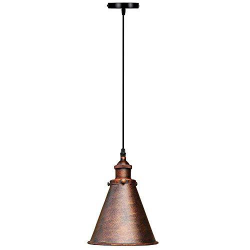 LIXHZJ Moderno Techo Luz Shade Shade Light Vintage Chandelier Black Rust (¿Sombra roja rústica con Bombilla)? Código del Producto: WW-131 (Color : Rustic Red Shade with out Bulb)