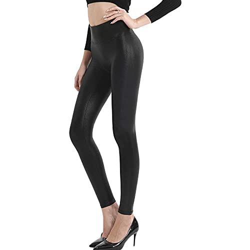 Women's Stretchy Faux Leather Leggings Sexy Black High Waisted Tights Stretch Pleather Trousers Sport Yoga Pants for Causal