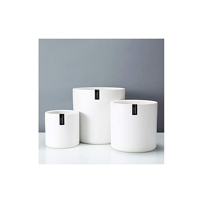 """silk flower arrangements fopamtri plant pot set matte white ceramic planter for indoor outdoor plants flowers small 6"""" medium 8"""" large 10 inch modern cylinder flower pot with drainage hole and plug,full glazed finish"""