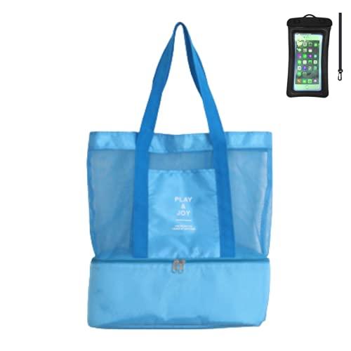 Grand sac de plage en maille pour femme - Sac isotherme portable 2 en 1 - Sac isotherme réutilisable - Léger pour pique-nique - Plage - Natation - Gym - Camping - Bleu - bleu, Azul EU