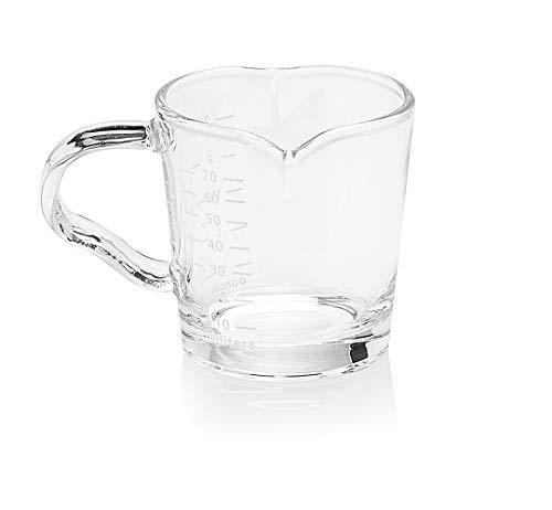 Espresso Shotglas Barista Kaffeeglas Shot-Glas Messbecher 70ml mit Griff und Doppelauslauf Espresso Marese