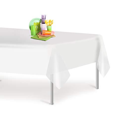 白色6包装高级一次性塑料桌布54英寸。x 108英寸。矩形表封面由古怪