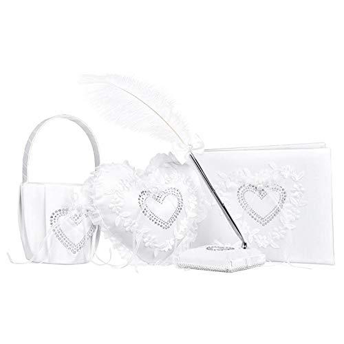 Fdit Herzform Ehering Kissen Weiß Elegante Rose Dekoration Ring Kissen Gast Signatur Buch Stift für Hochzeitsfeier MEHRWEG VERPAKUNG