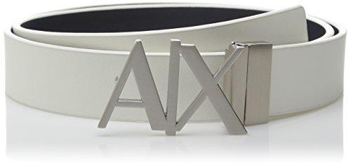 ARMANI EXCHANGE Skinny Leather Logo Belt Cintura, Bianco (White/Navy 41910), 7 (Taglia Produttore: 38) Uomo