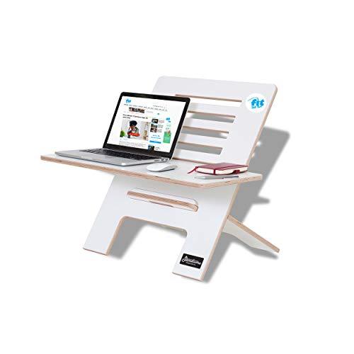 Fit for Fun Schreibtischaufsatz aus Holz, Stehpult Aufsatz höhenverstellbar, Schreibtisch Erhöhung und Stehtisch weiß