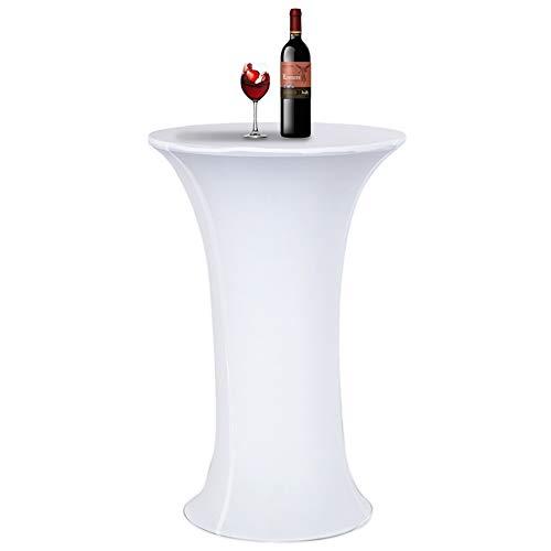 Acelectronic Tischdecke, Stretchy Tischhussen für Stehtische/Bistrotisch/Tischdurchmesser Ø 60-65cm in Weiß - Tisch Husse für Feiern Veranstaltungen Hochzeit Dekoration - Eleganter Tischüberzug