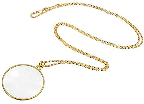 JJDSN Lupa, Herramienta de Hobby Lupas Collar de monóculo Decorativo con Lupa 5X Colgante de Lupa Collar de Cadena Chapado en Oro y Plata para joyería de Mujer (Color: Lupa Dorada 5X