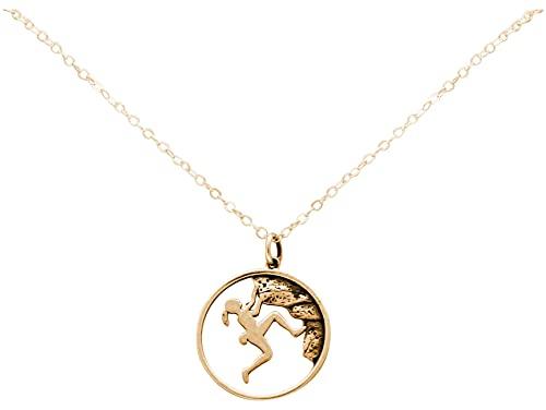 Gemshine Alpin Berg Klettern Halskette in 925 Silber, hochwertig vergoldet oder rose. Sportschmuck - Made in Madrid, Spain, Metall Farbe:Silber vergoldet