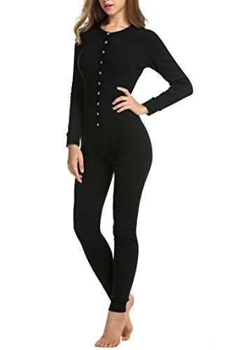 Hotouch Womens Long Sleeve Onesie Union Suit Thermal Underwear Set Sleepwear Pajama Jumpsuit Union,Black, XL
