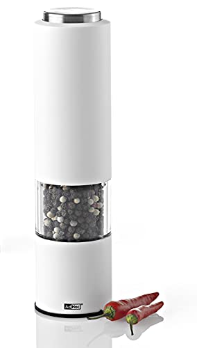 AdHoc EP23 elektrische Pfeffer- oder Salzmühle TROPICA, LED-Licht, Keramik Mahlwerk, Weiß